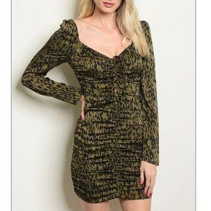 Olive leopard ruched mini dress, NEW!